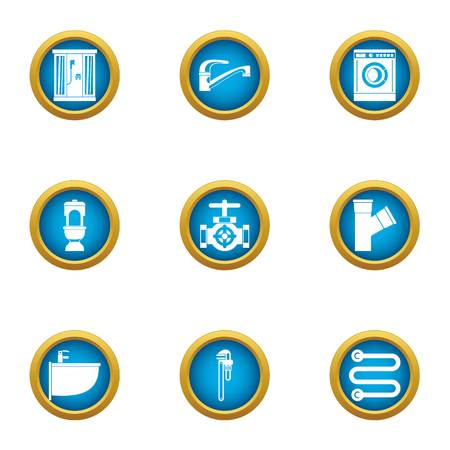 Clean pipe icons set, flat style Иллюстрация