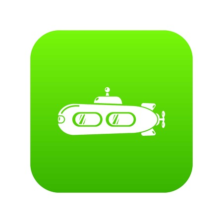 Submarine retro icon green vector isolated on white background Иллюстрация