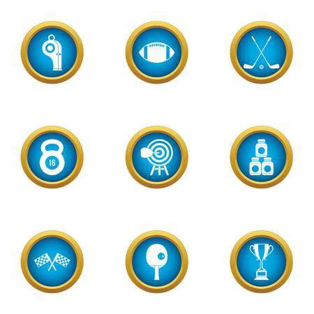 Triathlon icons set. Flat set of 9 triathlon vector icons for web isolated on white background