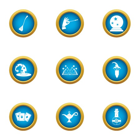 Fortuneteller icons set. Flat set of 9 fortuneteller vector icons for web isolated on white background