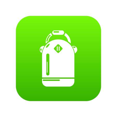 Backpack schoolgirl icon green vector isolated on white background