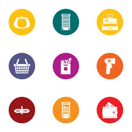 Checkout icons set. Flat set of 9 checkout vector icons for web isolated on white background
