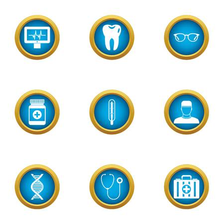 Toothache icons set. Flat set of 9 toothache vector icons for web isolated on white background