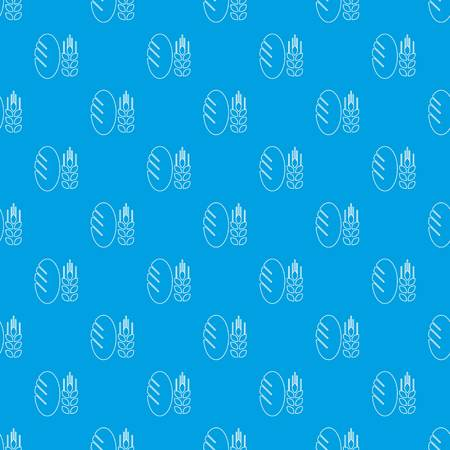 Bread wheat pattern vector seamless blue repeat for any use