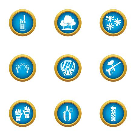 Secret training icons set, flat style