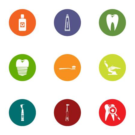 Dental revamp icons set. Flat set of 9 dental revamp vector icons for web isolated on white background Stok Fotoğraf - 130229890