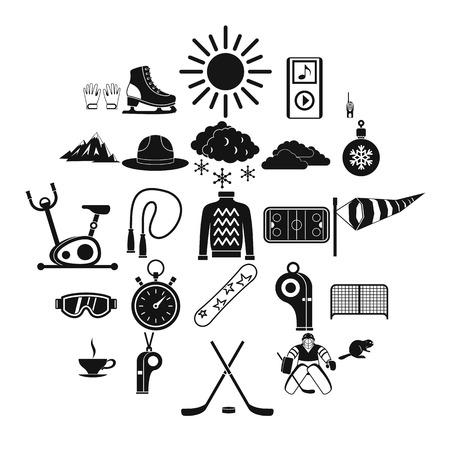 Hockey icons set. Simple set of 25 hockey vector icons for web isolated on white background