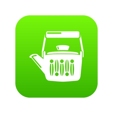 Teatime icon green vector isolated on white background