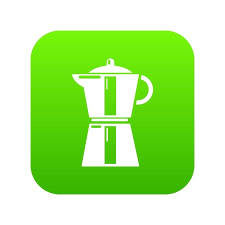 Kettle element icon green vector isolated on white background