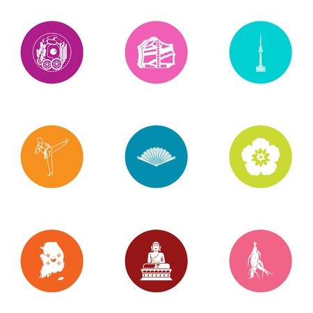 Asia spot icons set, flat style 向量圖像