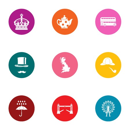 Royal family icons set. Flat set of 9 royal family vector icons for web isolated on white background  イラスト・ベクター素材