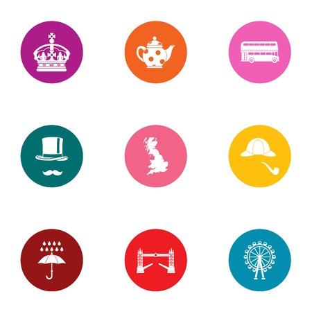 Royal family icons set. Flat set of 9 royal family vector icons for web isolated on white background Illustration