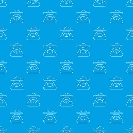 Kitchen scales pattern vector seamless blue repeat for any use