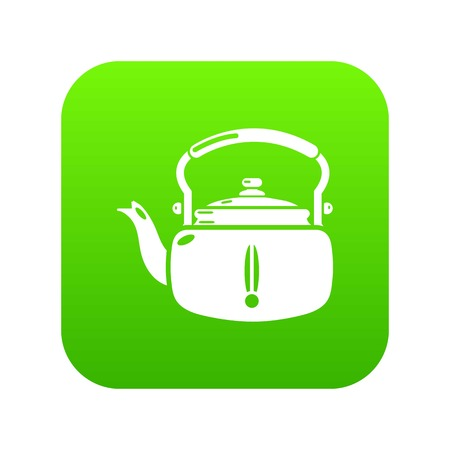 Kettle break icon green vector isolated on white background