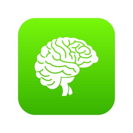 Brain icon digital green for any design isolated on white vector illustration