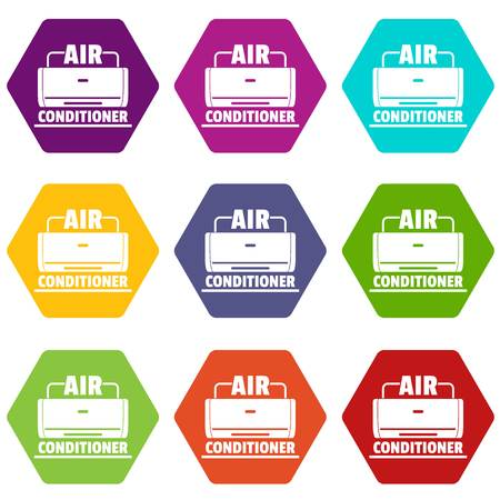 Air conditioner icons 9 set coloful isolated on white for web