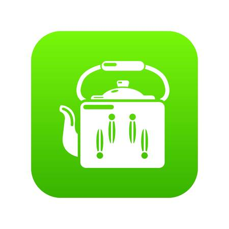 Kettle retro icon green vector isolated on white background