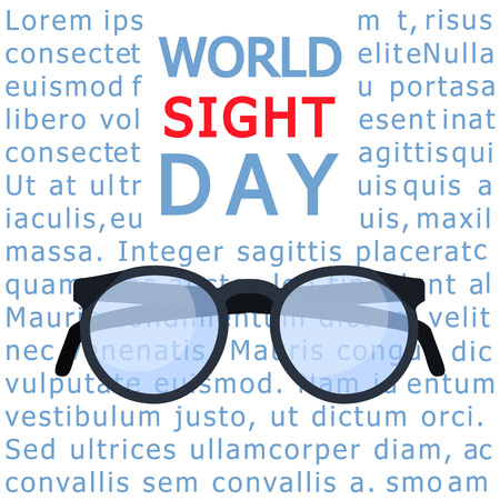 Glasses sight day concept background. Flat illustration of glasses sight day vector concept background for web design