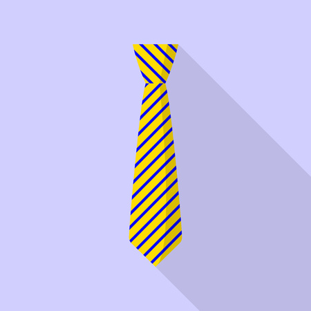 Yellow tie icon. Flat illustration of yellow tie vector icon for web design