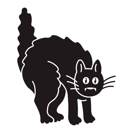 Scary black cat icon. Simple illustration of scary black cat vector icon for web design isolated on white background