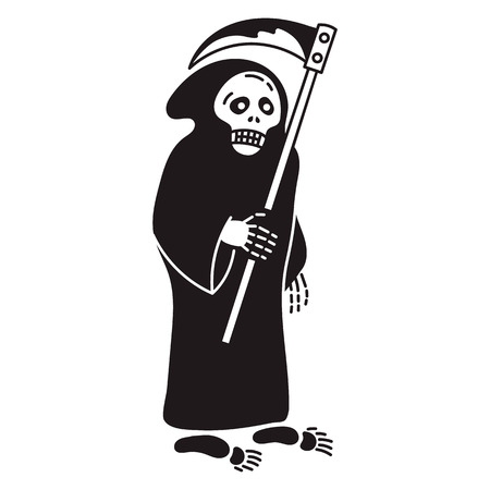Death with scythe icon. Simple illustration of death with scythe vector icon for web design isolated on white background