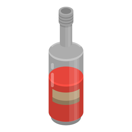 Red wine bottle icon. Isometric of red wine bottle vector icon for web design isolated on white background Illustration
