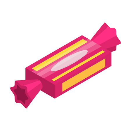 Pink sweet bonbon icon. Isometric of pink sweet bonbon vector icon for web design isolated on white background Ilustração