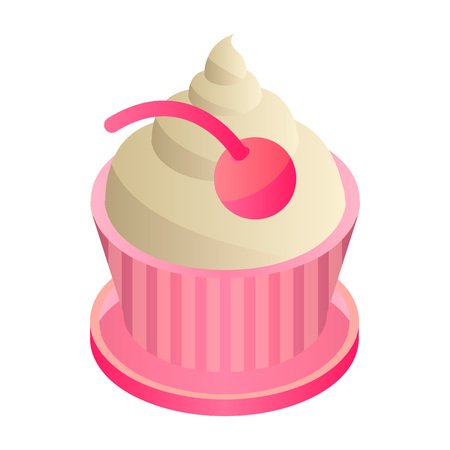 Cupcake icon. Isometric of cupcake vector icon for web design isolated on white background