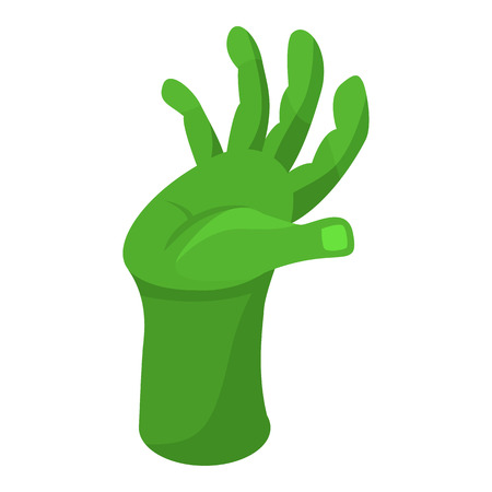 Green zombie hand icon. Isometric of green zombie hand vector icon for web design isolated on white background