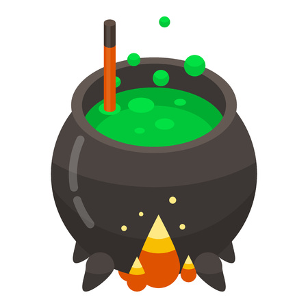 Magic cauldron icon. Isometric of magic cauldron vector icon for web design isolated on white background