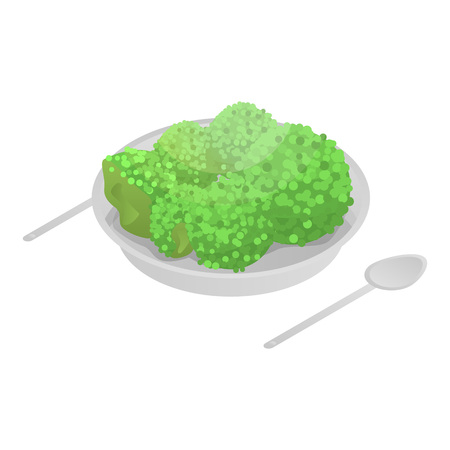Broccoli on plate icon, isometric style Illustration