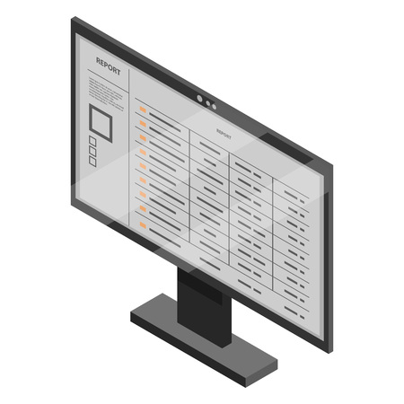 Office monitor icon. Isometric of office monitor vector icon for web design isolated on white background