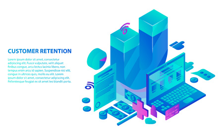 Customer retention service concept background. Isometric illustration of customer retention service vector concept background for web design