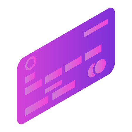 Credit bank card icon. Isometric of credit bank card vector icon for web design isolated on white background Vektorové ilustrace