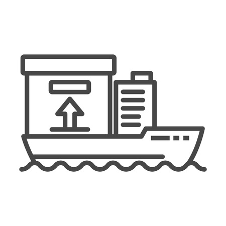 Cargo ship delivery icon. Outline cargo ship delivery vector icon for web design isolated on white background