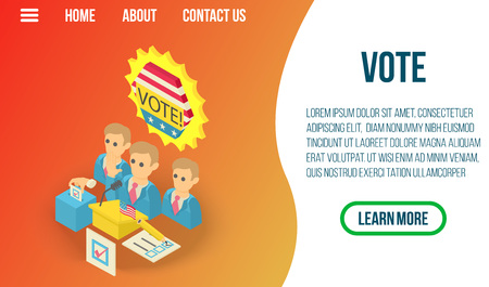 Vote concept banner. Isometric banner of vote vector concept for web, giftcard and postcard