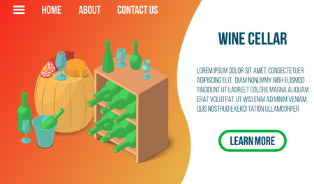 Wine cellar concept banner. Isometric banner of wine cellar vector concept for web, giftcard and postcard