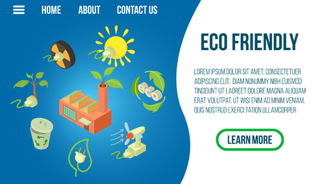 Eco friendly concept banner. Isometric banner of eco friendly vector concept for web, giftcard and postcard