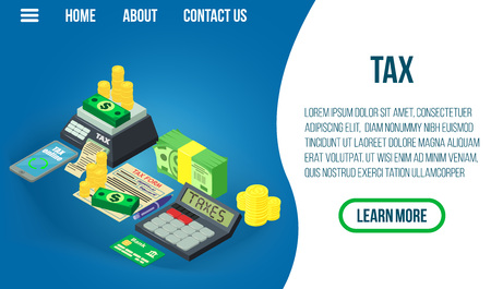 Tax concept banner. Isometric banner of tax vector concept for web, giftcard and postcard Ilustração