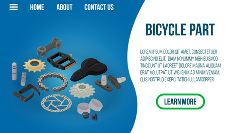 Bicycle part concept banner. Isometric banner of bicycle part vector concept for web, giftcard and postcard Stock Illustratie