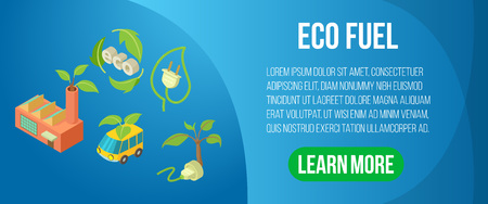 Eco fuel concept banner. Isometric banner of eco fuel vector concept for web, giftcard and postcard