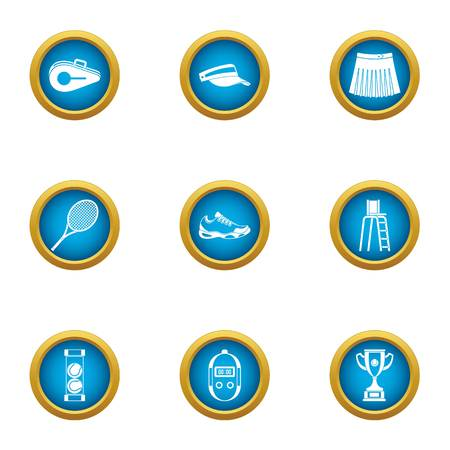 Tennis scope icons set. Flat set of 9 tennis scope vector icons for web isolated on white background