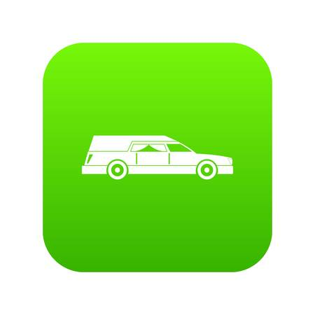Hearse icon digital green for any design isolated on white vector illustration