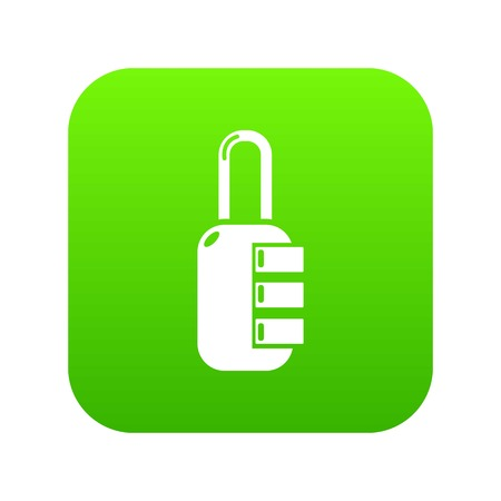 Lock combination icon green vector isolated on white background