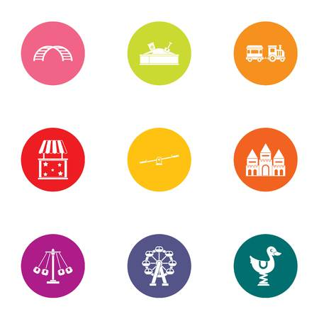 Childlike town icons set. Flat set of 9 childlike town vector icons for web isolated on white background