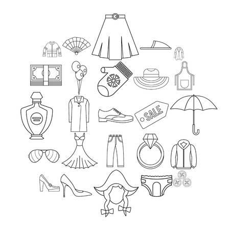 Evening dress icons set. Outline set of 25 evening dress vector icons for web isolated on white background Illusztráció