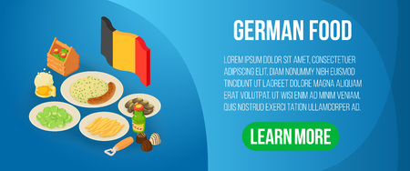 German food concept banner. Isometric banner of german food vector concept for web, giftcard and postcard Stock Illustratie