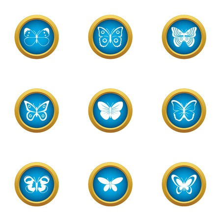 Night insect icons set, flat style