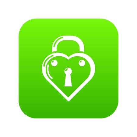 Lock decorative icon green vector isolated on white background