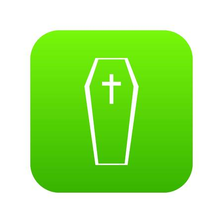 Coffin icon digital green for any design isolated on white vector illustration